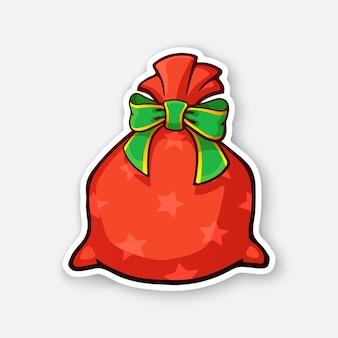 Weihnachtsmann rote tasche voller geschenke mit grüner schleife vektor-illustration