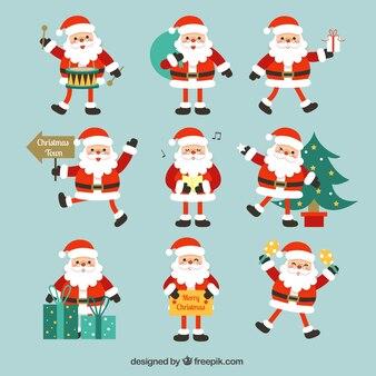 Weihnachtsmann-sammlung mit verschiedenen objekten