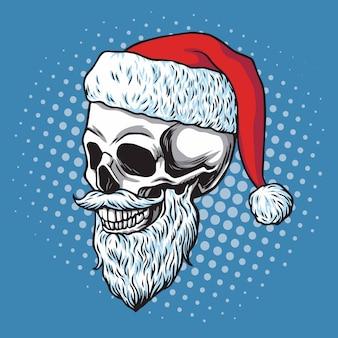 Weihnachtsmann schädel bärtig. karikatur-vektor-hand gezeichnete illustration