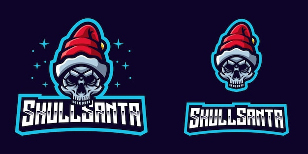 Weihnachtsmann-schädel-maskottchen-logo illustrationen