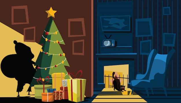 Weihnachtsmann-schatten in der wohnzimmervektorillustration