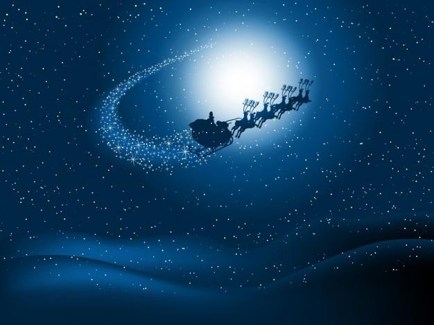 Weihnachtsmann schlitten auf sternenhimmel hintergrund