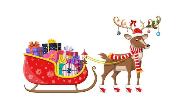 Weihnachtsmann schlitten voller geschenke und sein rentier