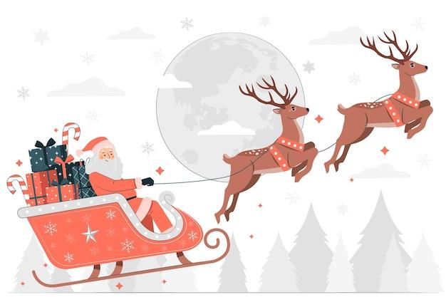 Weihnachtsmann-schlittenkonzeptillustration