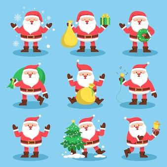 Weihnachtsmann-set mit geschenk und schnee auf blau für weihnachtskarte