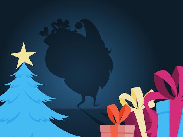 Weihnachtsmann silhouette im haus. weihnachtsmann, der mit tasche voller geschenke zum weihnachtsbaum kriecht. illustration