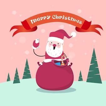 Weihnachtsmann sit on red sack