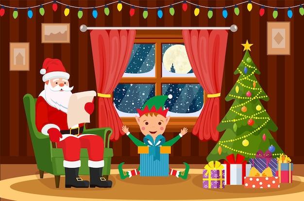 Weihnachtsmann sitzt im sessel