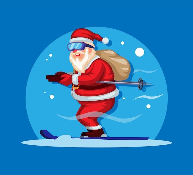 Weihnachtsmann-skifahren mit geschenktüte im rücken auf weihnachtszeit-charakter-illustrationsvektor