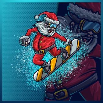 Weihnachtsmann spielen sie snowboard im weihnachtsschnee