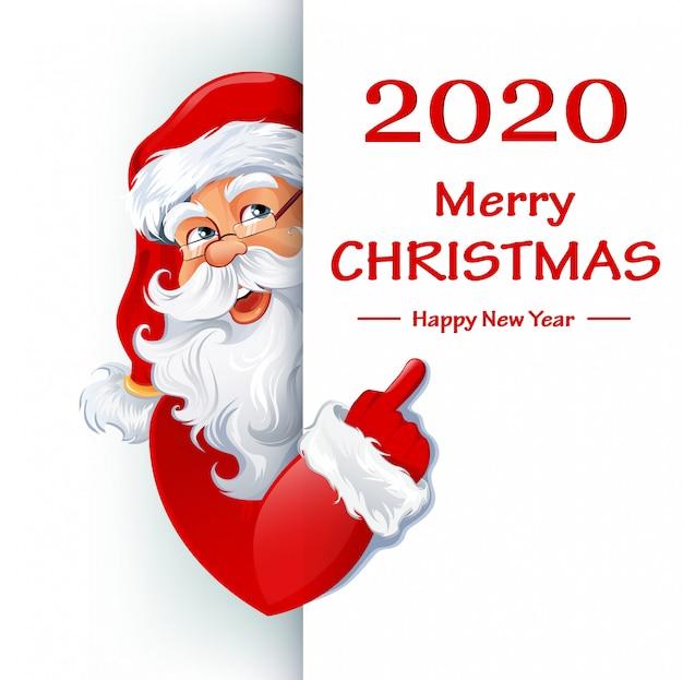 Weihnachtsmann steht hinter plakat