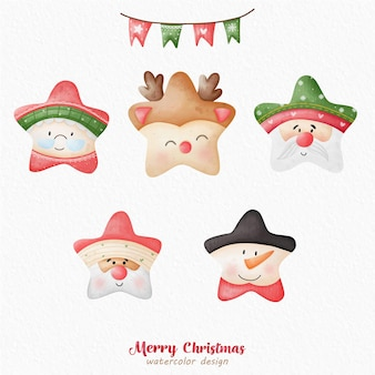 Weihnachtsmann-stern-aquarell
