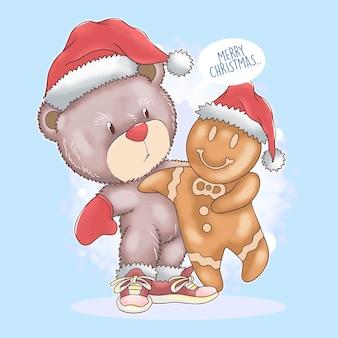 Weihnachtsmann-teddybär weihnachten mit lebkuchen-aquarell