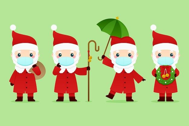 Weihnachtsmann trägt gesichtsmasken gesetzt