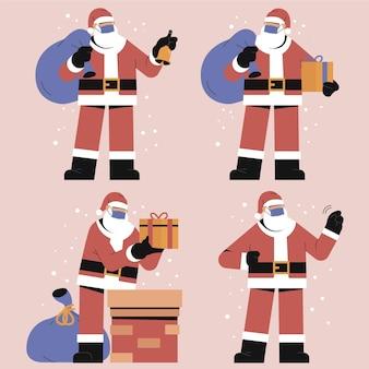 Weihnachtsmann trägt gesichtsmasken sammlung