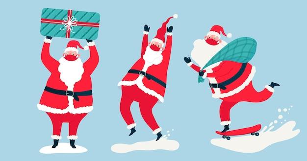 Weihnachtsmann trägt gesichtsmasken