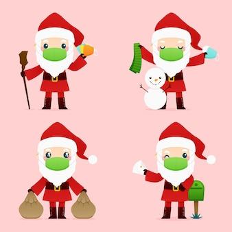 Weihnachtsmann trägt gesichtsmaskenpackung