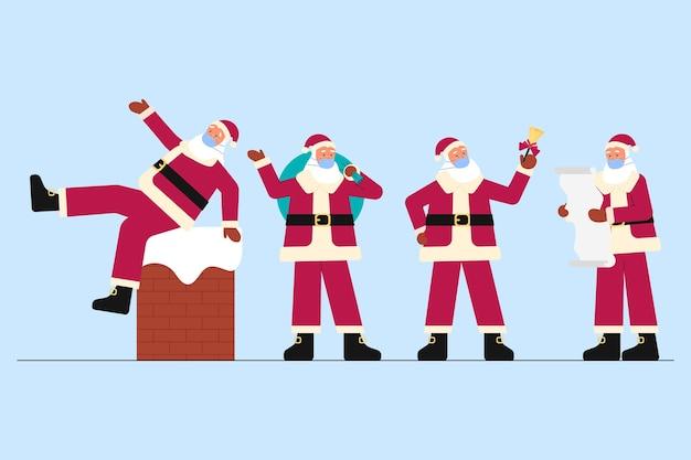 Weihnachtsmann trägt medizinische maskenpackung