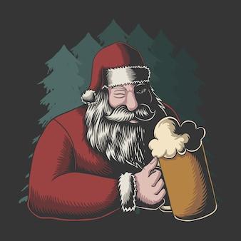 Weihnachtsmann trinkt bier frohe weihnachten vektor-illustration