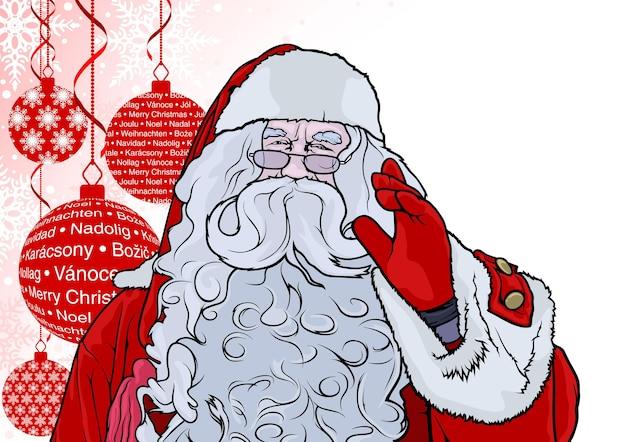 Weihnachtsmann über rotem weihnachtshintergrund mit hängenden kugeln