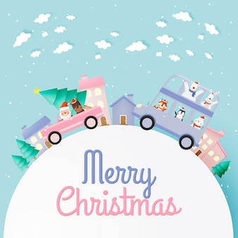 Weihnachtsmann und bande der tierparty mit sehr niedlichem charakterentwurf in papierkunst und in pastellschema