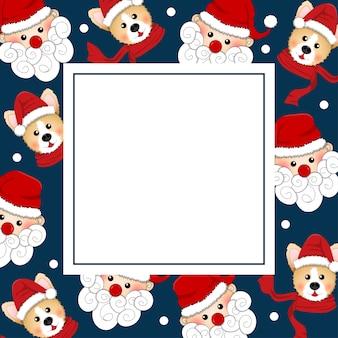Weihnachtsmann und corgi auf indigo blue banner card