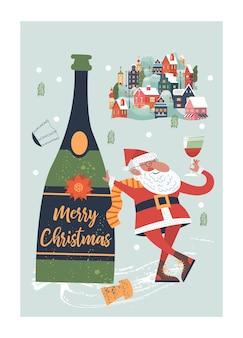 Weihnachtsmann und eine riesige flasche champagner eine kleine gemütliche schneebedeckte stadt neujahr und weihnachten
