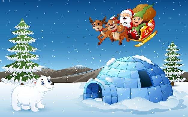 Weihnachtsmann und elf, die rotwild-pferdeschlittenfliegen reiten