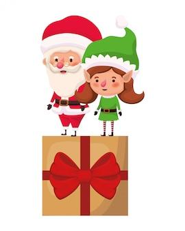 Weihnachtsmann und elf frau mit geschenkbox