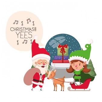 Weihnachtsmann und elf frau mit kristallkugel
