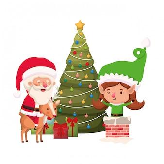 Weihnachtsmann und elf frau mit weihnachtsbaum