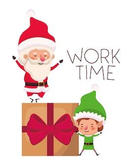 Weihnachtsmann und elf mit geschenkbox
