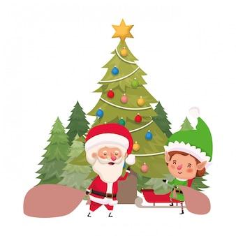 Weihnachtsmann und elf mit weihnachtsbaum