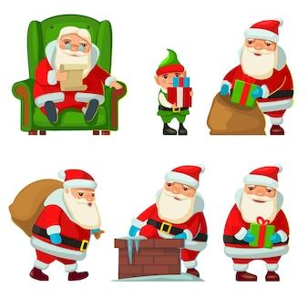 Weihnachtsmann und elf. stellen sie flache vektorillustration für neujahr und frohe weihnachten ein.