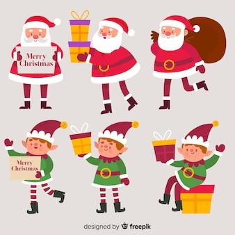 Weihnachtsmann und elfe, die weihnachtssammlung aufwerfen