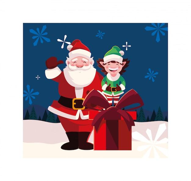 Weihnachtsmann und elfe mit geschenkbox in der winterlandschaft