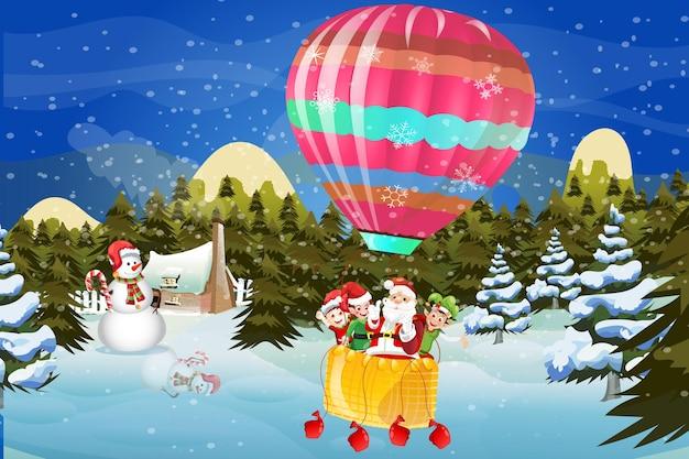 Weihnachtsmann und elfen auf weihnachtsheißluftballon winterzeit