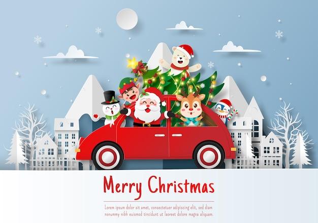 Weihnachtsmann und freund mit weihnachtsauto im dorf