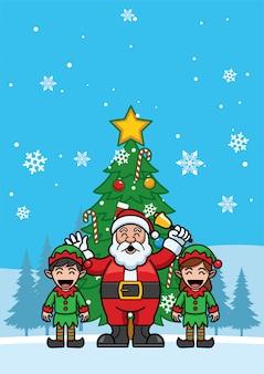 Weihnachtsmann und Freunde, die für chritmas zujubeln