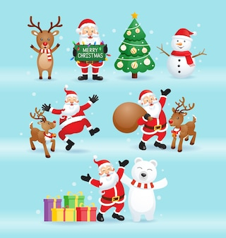 Weihnachtsmann und freunde für weihnachtstagillustration.