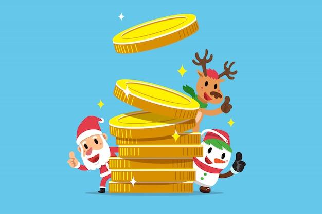 Weihnachtsmann und freunde mit großem münzenstapel