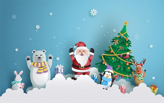 Weihnachtsmann und freunde mit weihnachtsbaum.