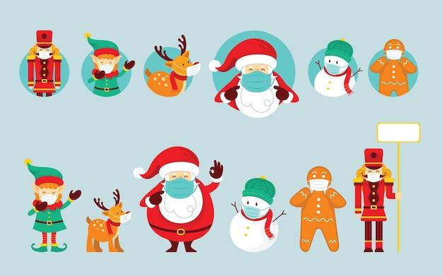 Weihnachtsmann und freunde tragen gesichtsmasken-set