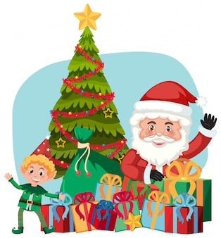 Weihnachtsmann und geschenk mit elfenhelfer