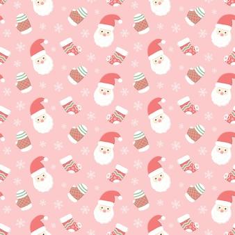 Weihnachtsmann und handschuh mit socke, nahtloses weihnachtsmuster, saisonaler feiertagshintergrund