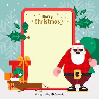 Weihnachtsmann und hund mit leeren zeichen