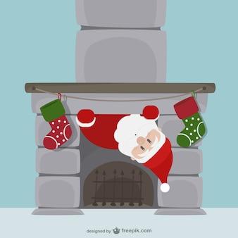 Weihnachtsmann und kamin-cartoon