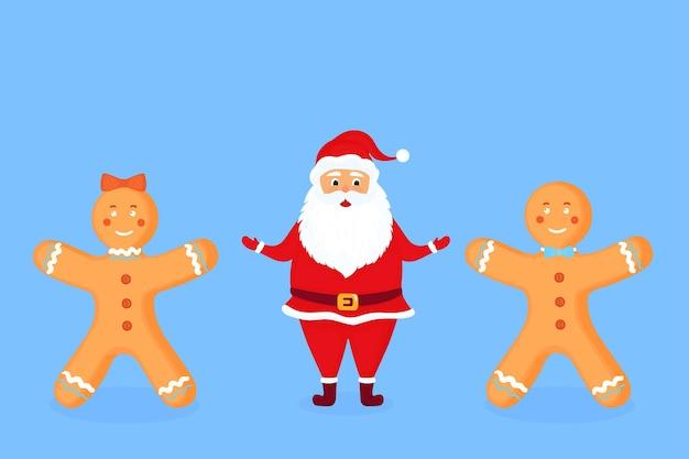 Weihnachtsmann und lebkuchenmänner und -frau. weihnachtszeichentrickfiguren.