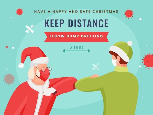 Weihnachtsmann und mann grüßt durch ellbogenstoß