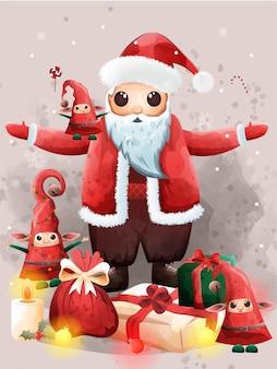 Weihnachtsmann und niedlicher elf größtes geschenk heiligabend segen.